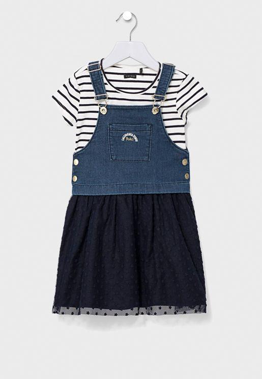 Youth Pocket Detail Dungree + T-Shirt Set