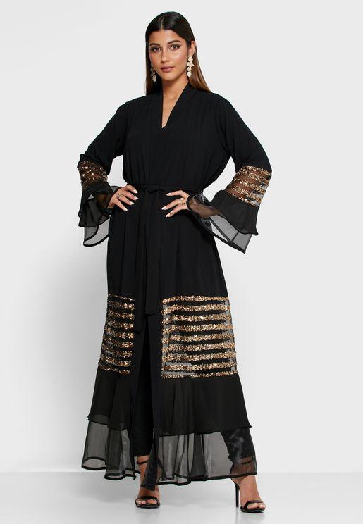 Sheer Metallic Trim Abaya