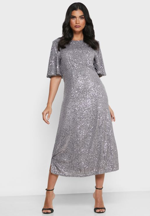 Angel Sleeve Sequin Dress