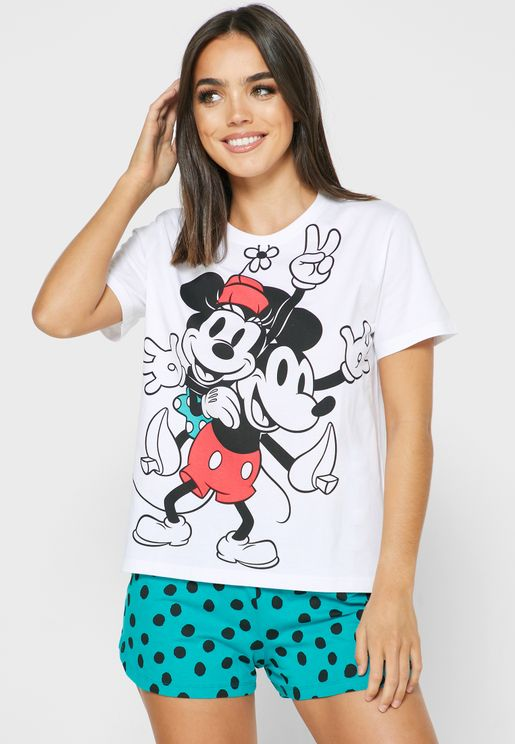 Minnie and Mickey Print T-shirt and Shorts Set