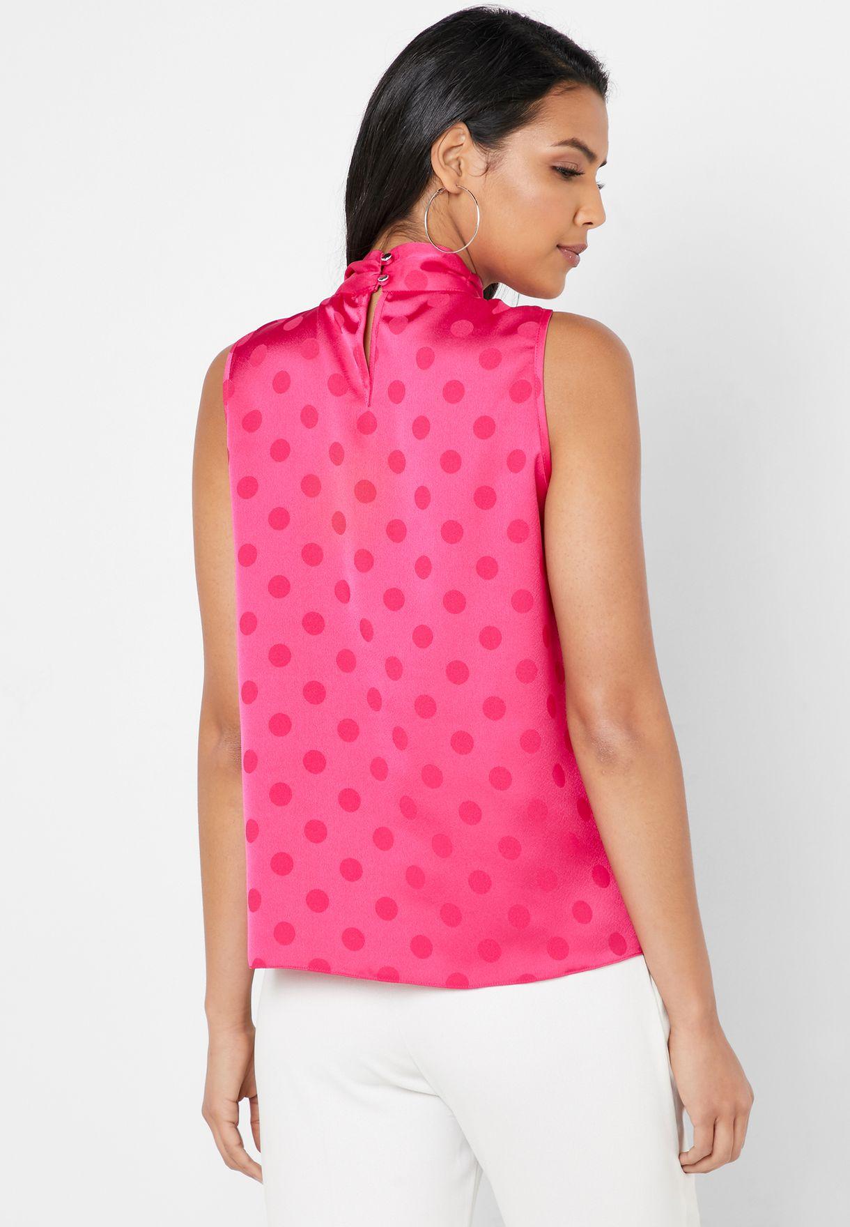 Tie Neck Dot Print Top