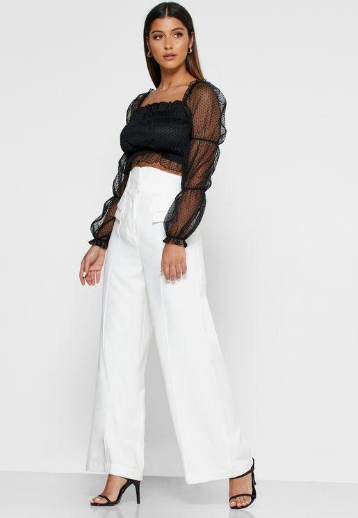 Pocket Detail Wide Leg Pants