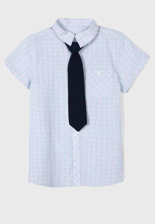 Kids Button Down Shirt With Tie