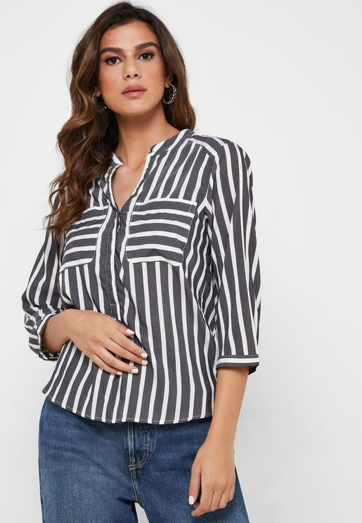 Pocket Detail Striped High Low Top