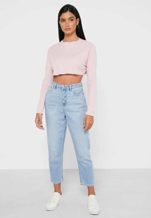 جينز مام بأزرار