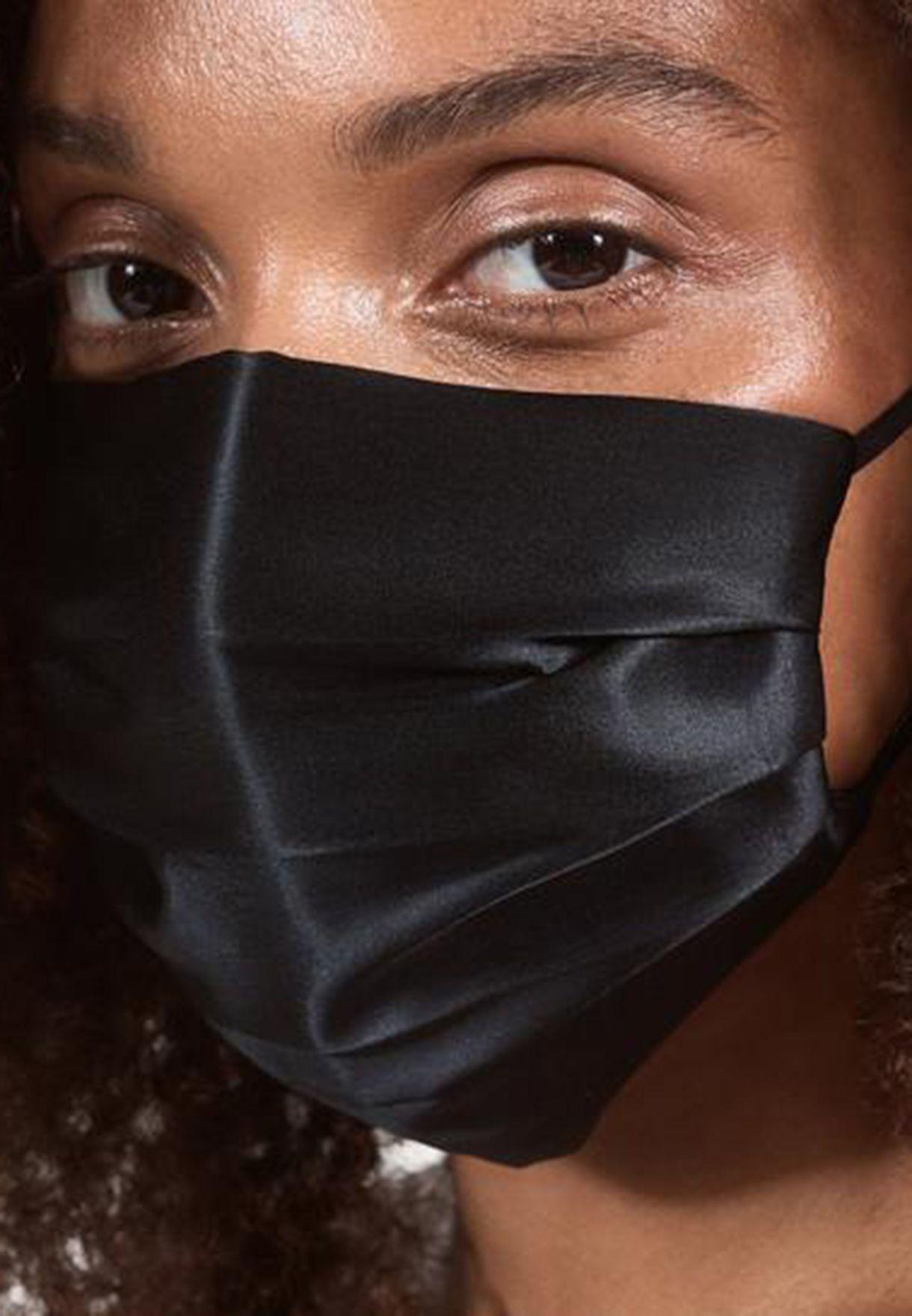 قناع وجه حرير قابل لاعادة الاستخدام - اسود