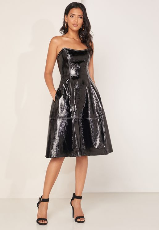 Bandeau PU Leather Skater Dress