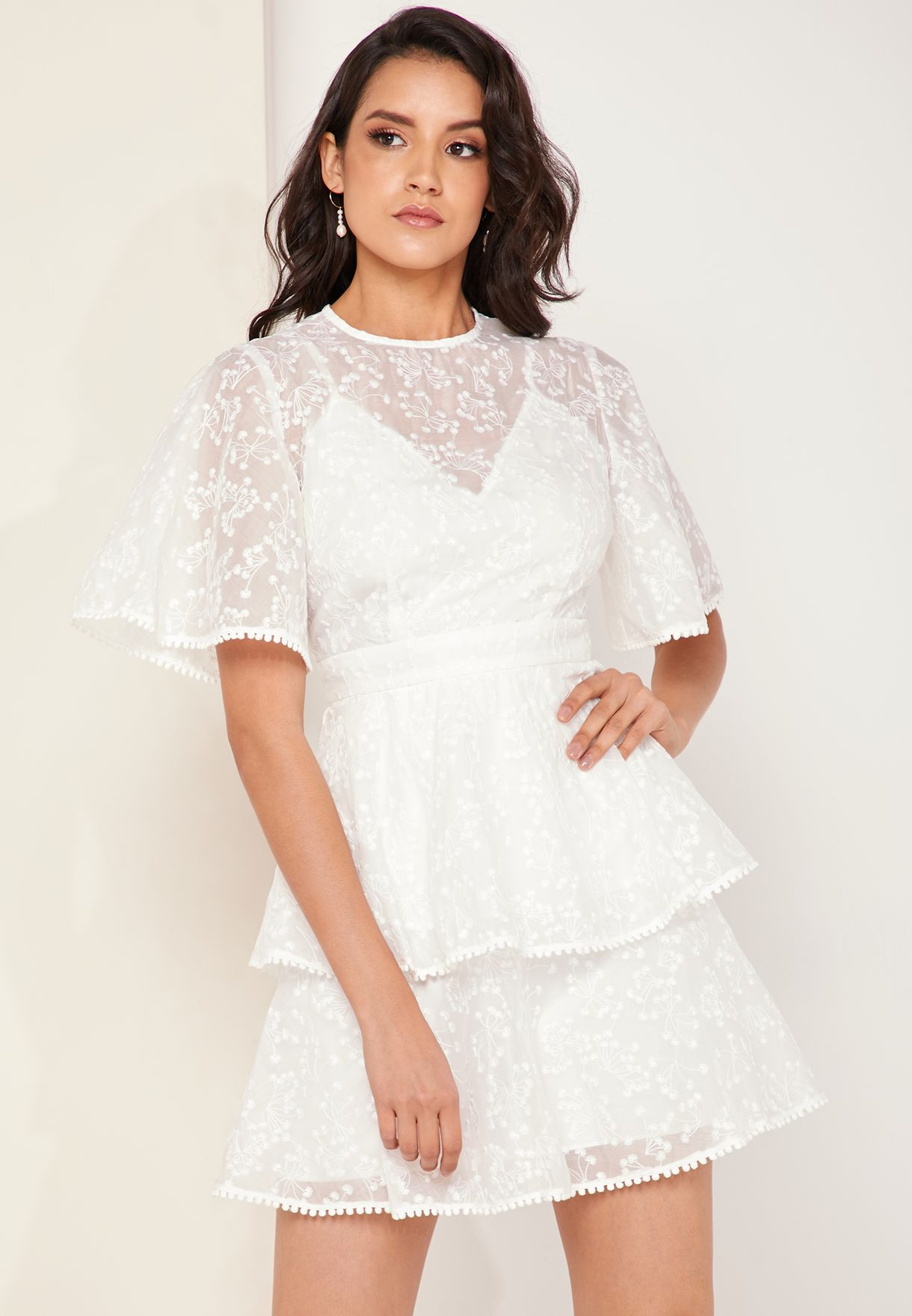 Wild Love Lace Detail Layered Short Sleeve Dress