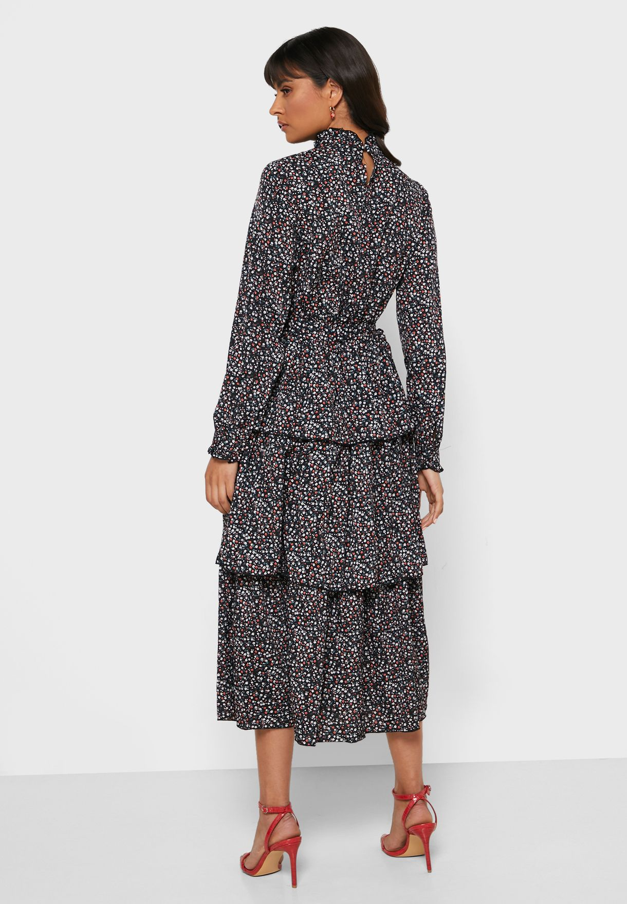 Printed Tiered Self Tie Midi Dress