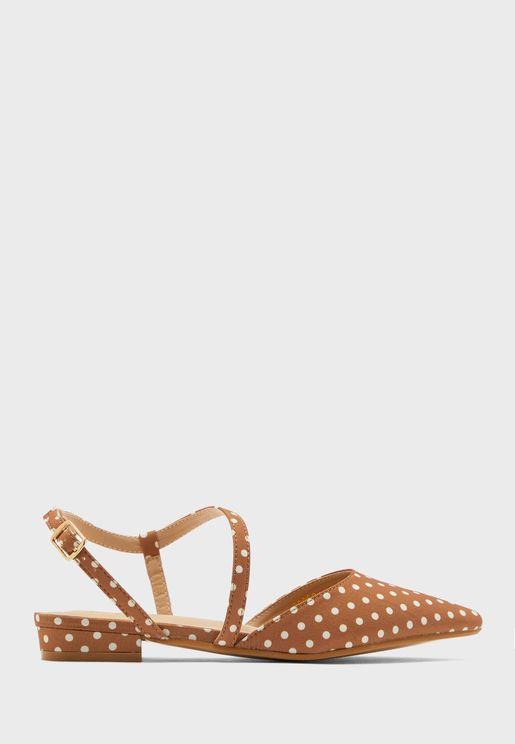Polka Dot Ankle Strap Flat Shoe
