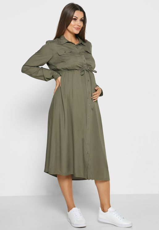 Drawstring Shirt Dress