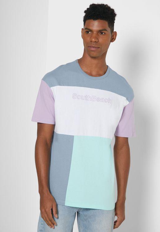 Color Block Box Fit Crew Neck T-Shirt