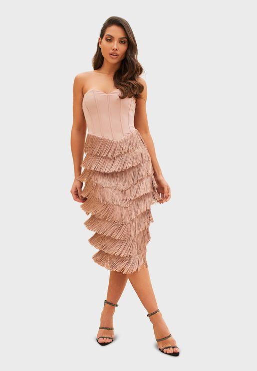 Bandeau Fringe Layered Bodycon Dress