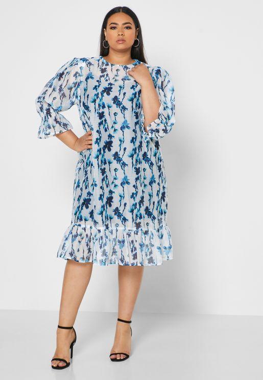 Printed Ruffle Detail Dress