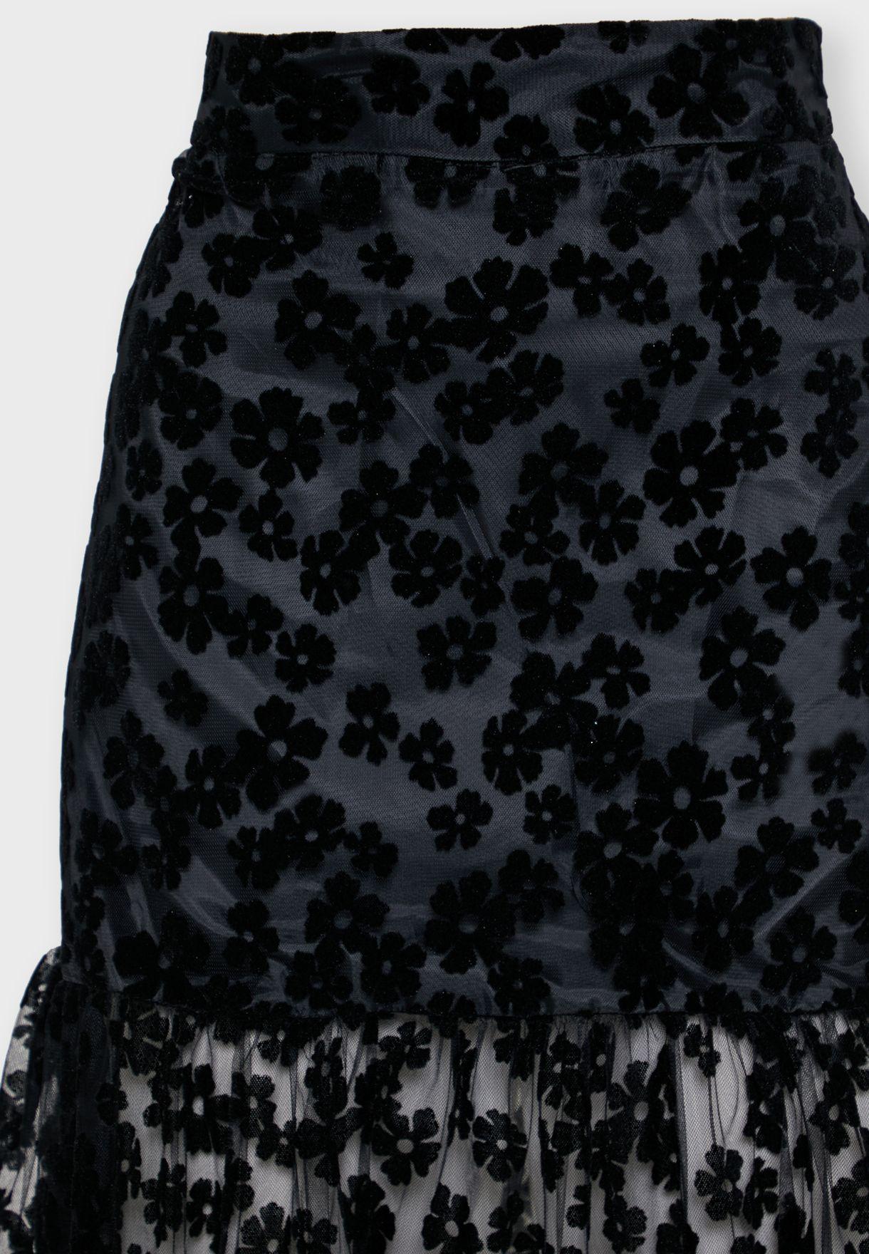 Applique Maxi Skirt