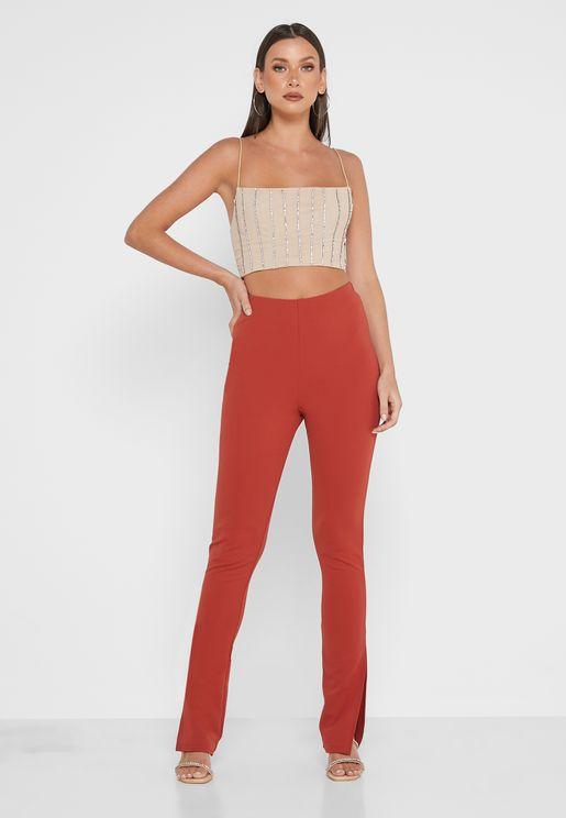 Split Flared Detail Pants
