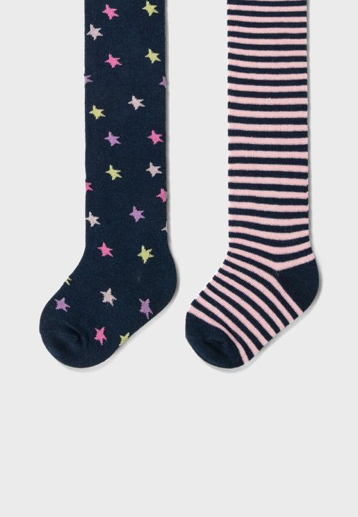 Infant 2 Pack Printed Stockings