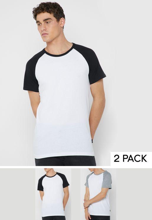 2 Packs Raglan Crew Neck T-Shirt