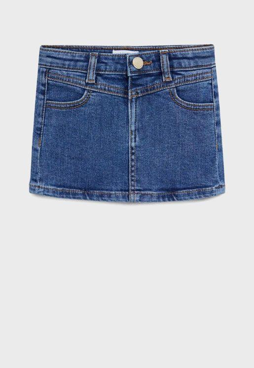 Kids Light Wash Denim Skirt