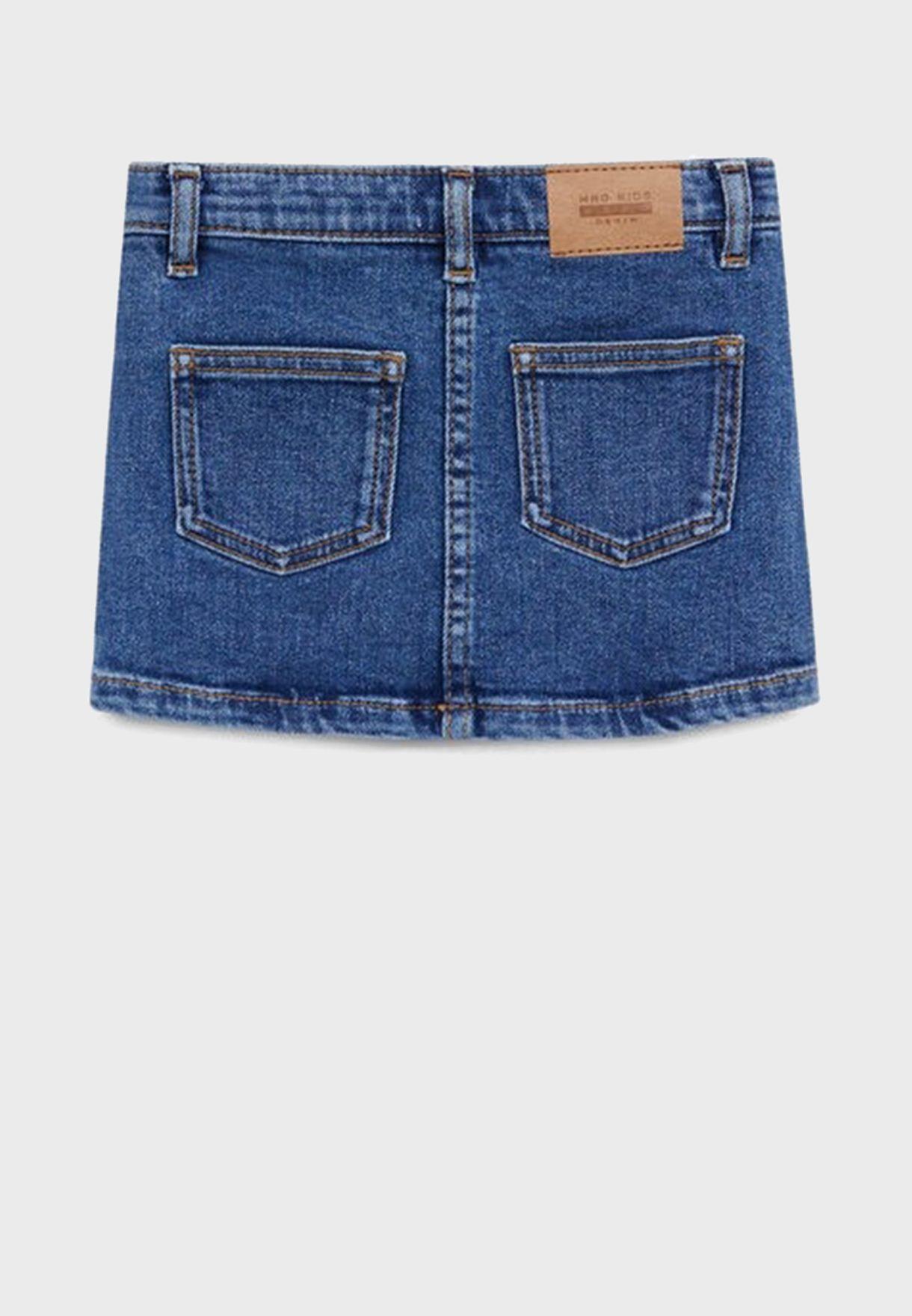 تنورة جينز بجيوب