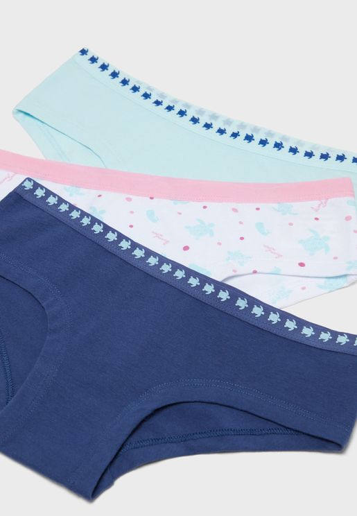 Kids 3 Pack Graphic Band Briefs