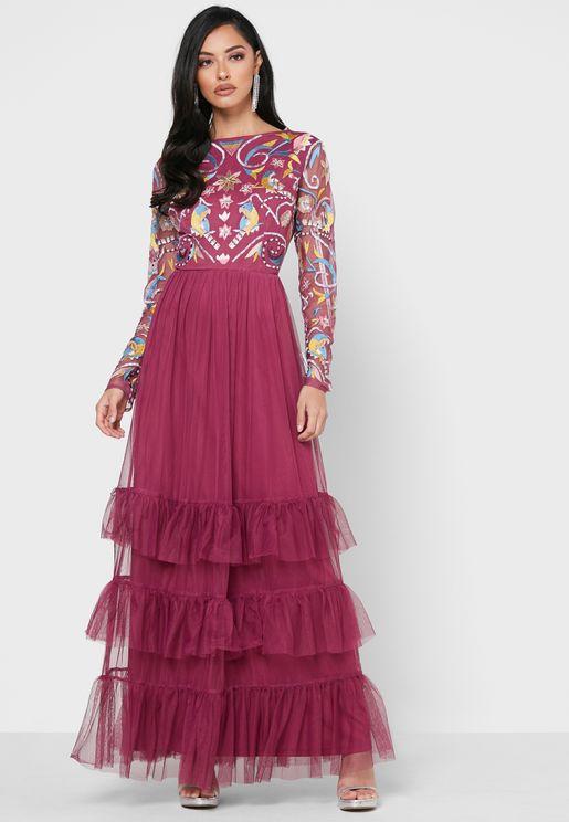 فستان تول مرصع