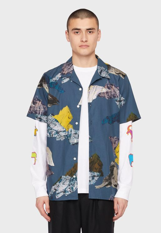 Mountain Print Regular Fit Shirt