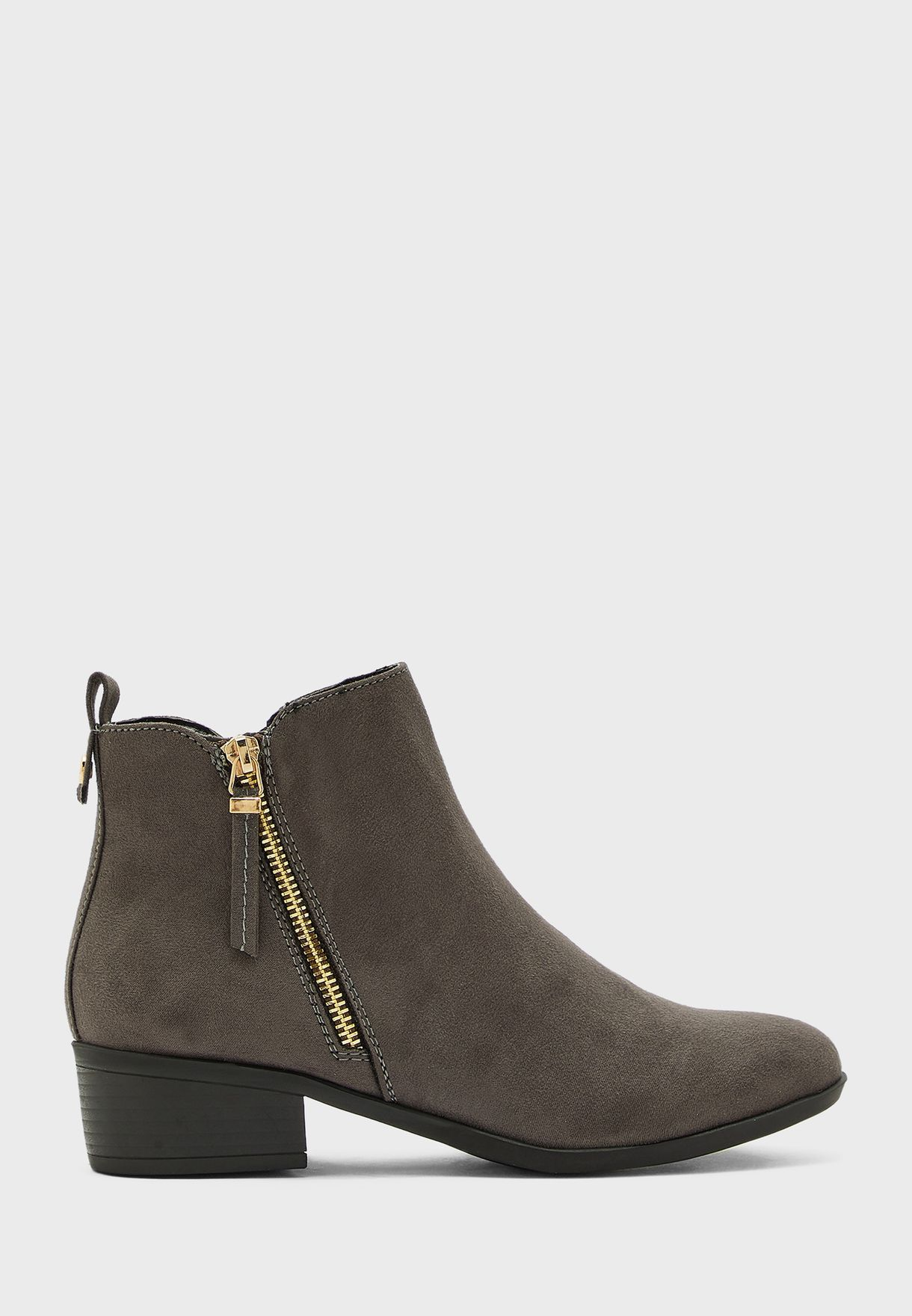 Macro Zip Detail Ankle Boot