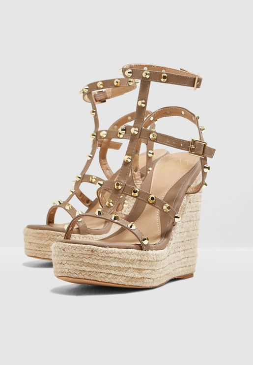 9369cef0001 Dome Stud Wedge Sandal - Taupe. Missguided