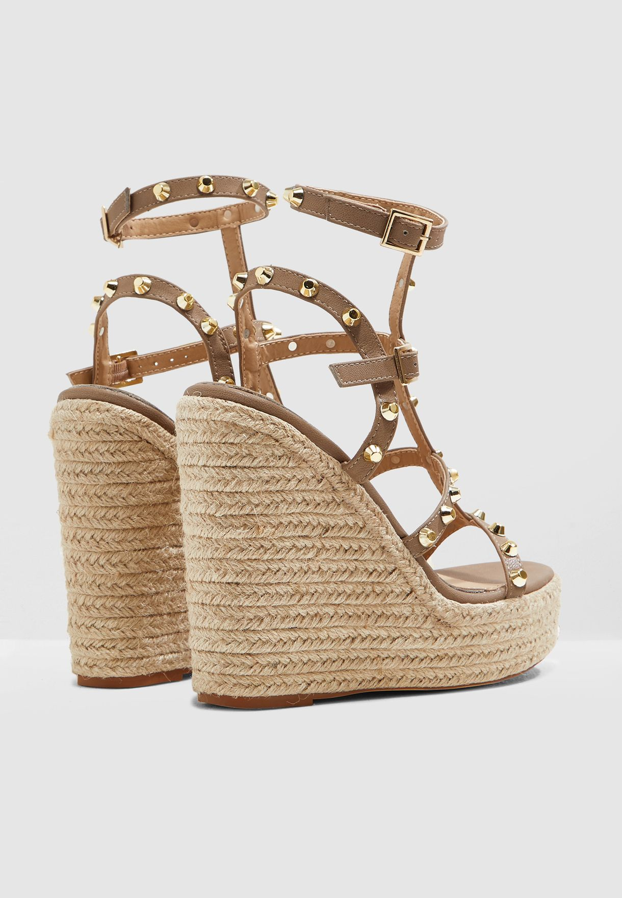 Dome Stud Wedge Sandal - Taupe