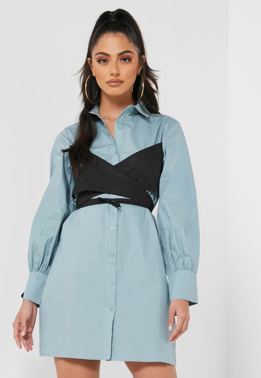 Tie Wrap Detail Shirt Dress
