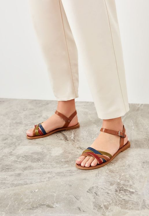 Multi Strap Buckle Detail Sandal - Multi Color