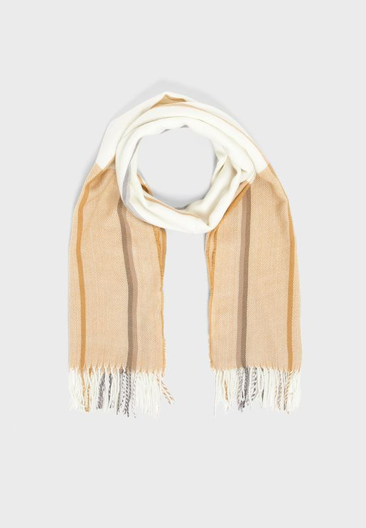 Colour Block Scarf With Tassels