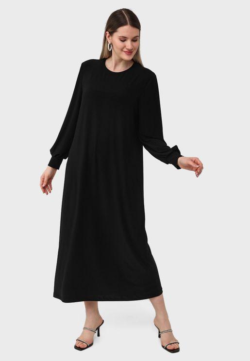 فستان ماكسي بأكمام طويلة