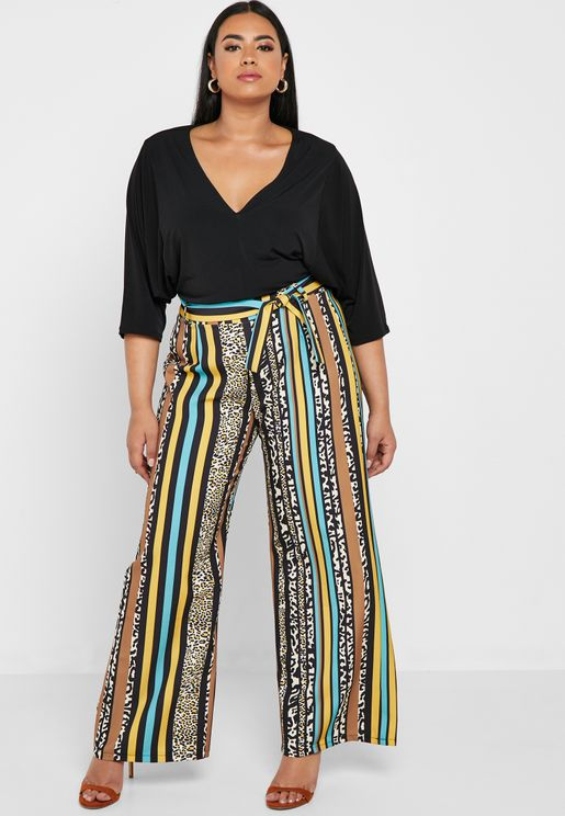 Mixed Print Self Tie Wide Leg Pants