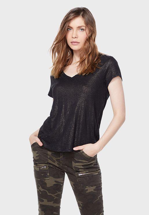 V-Neck Shimmer Detail T-Shirt
