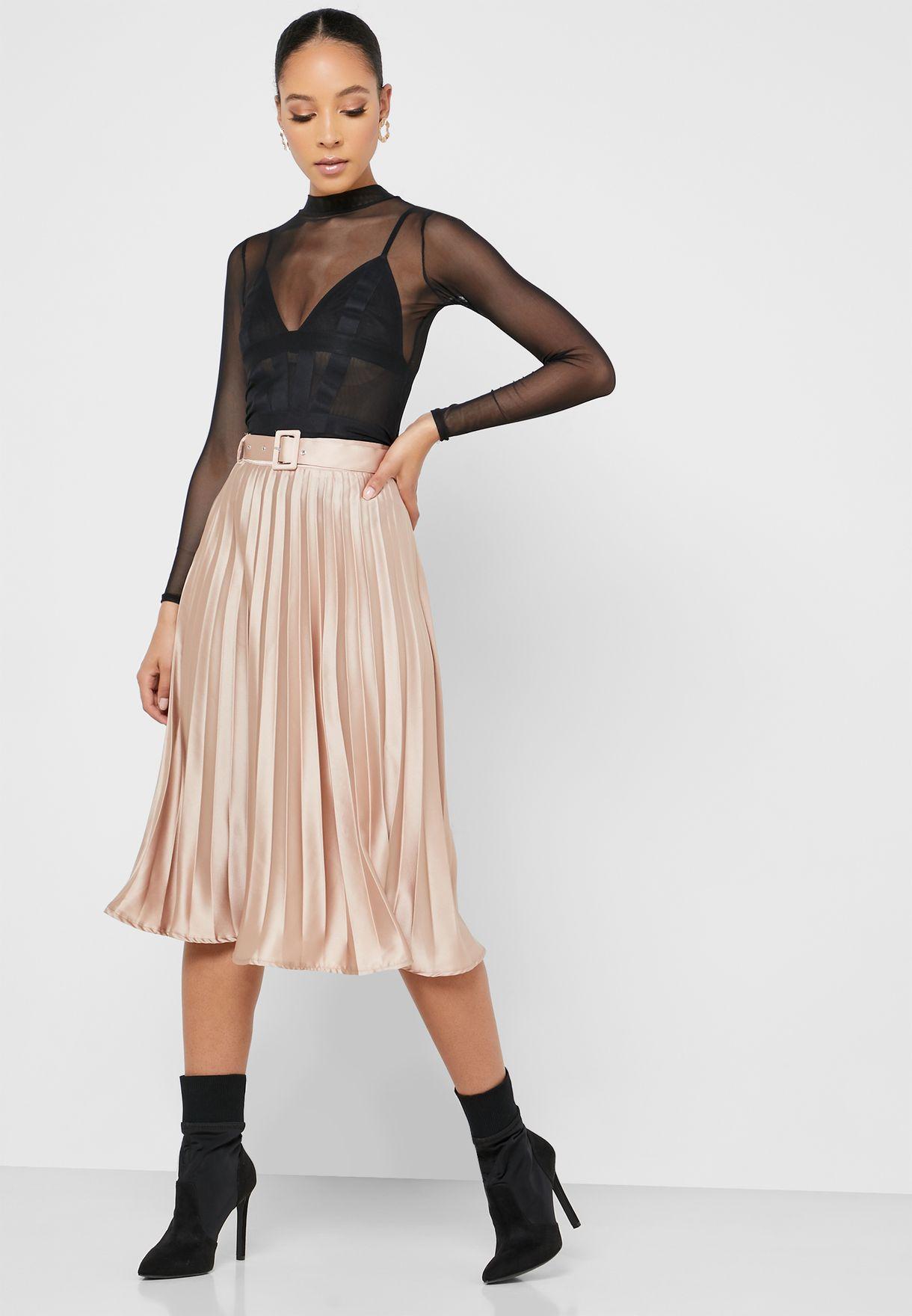 Belted Pleated Midi Skirt