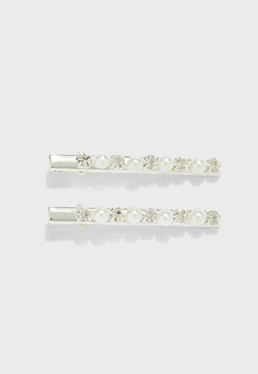 4 Pack Pearl And Diamante Hair Slides
