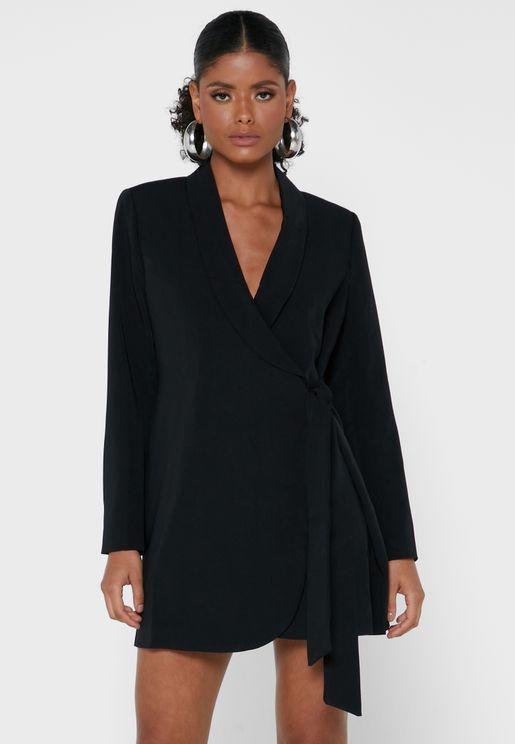 Wrap Mini Blazer Dress