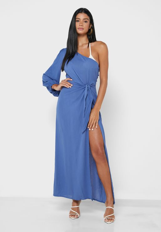 Cheesecloth One Shoulder Maxi Dress