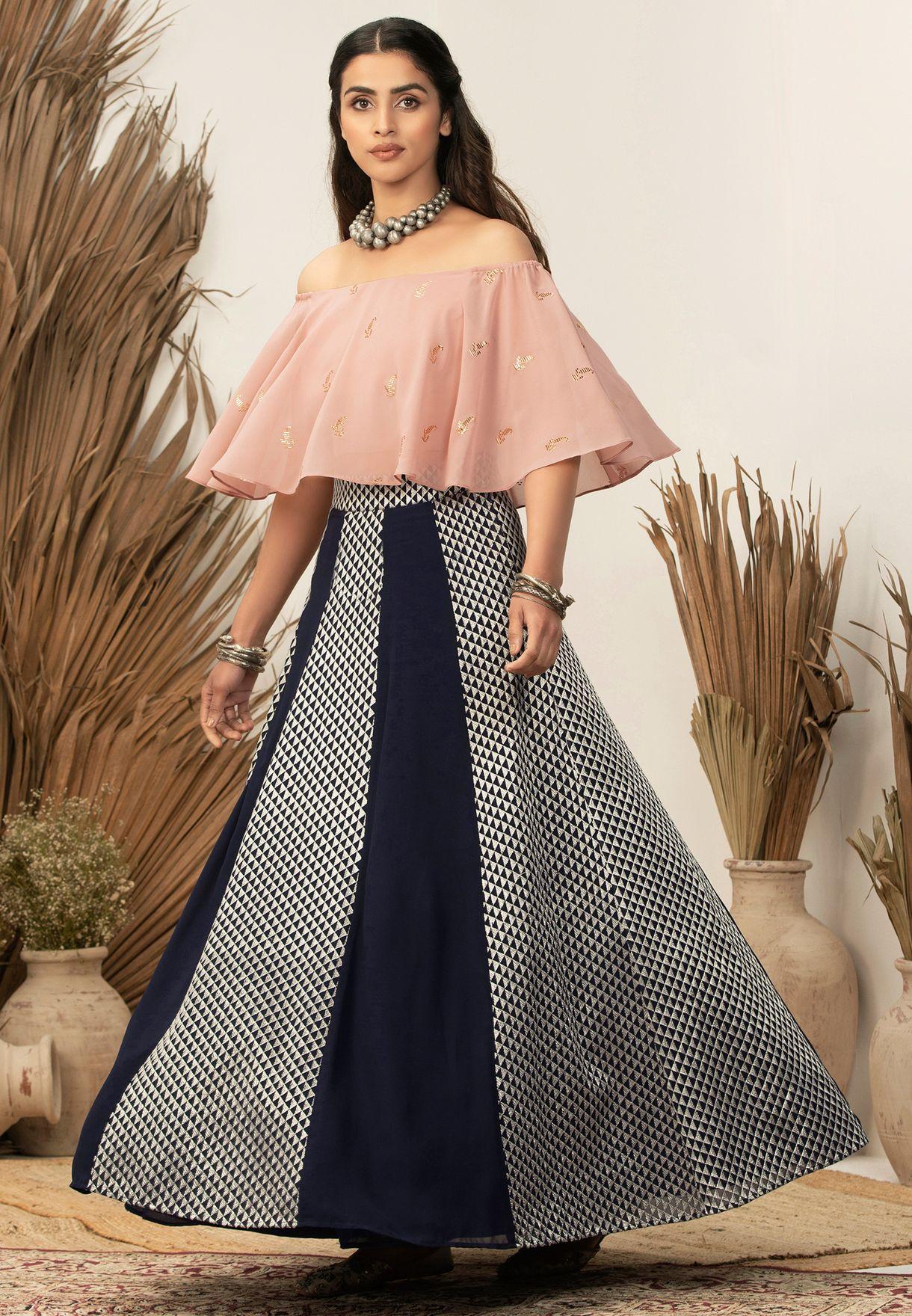 Indya X Payal Singhal Blush Foil Off Shoulder Crop Top