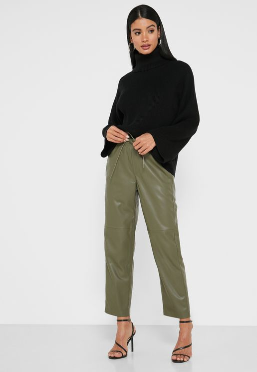 Drawstring Waist Pu Pants