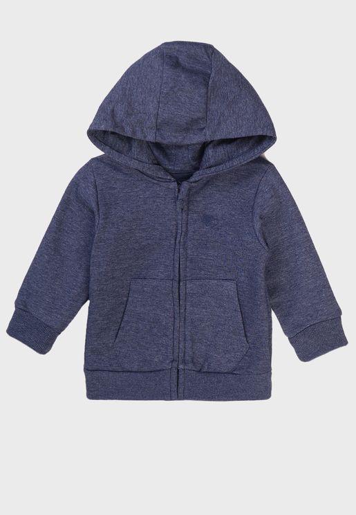 Infant Basic Embroidered Zip Thru Hoodie