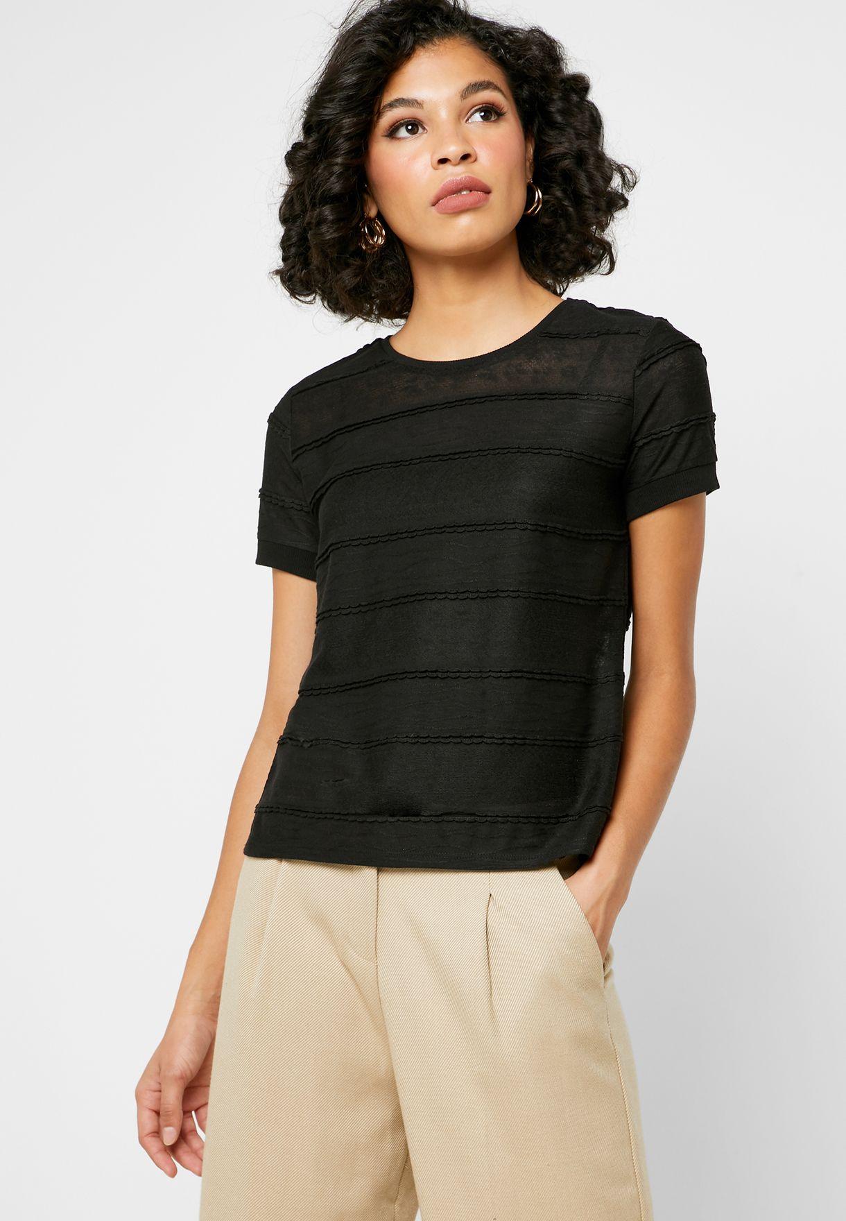 Scallop Detail Textured T-Shirt