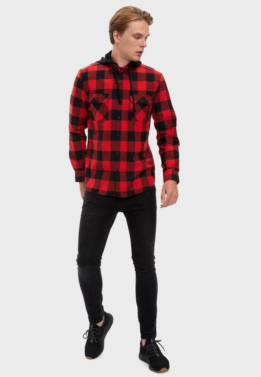 Checked Hooded Regular Fit Shirt