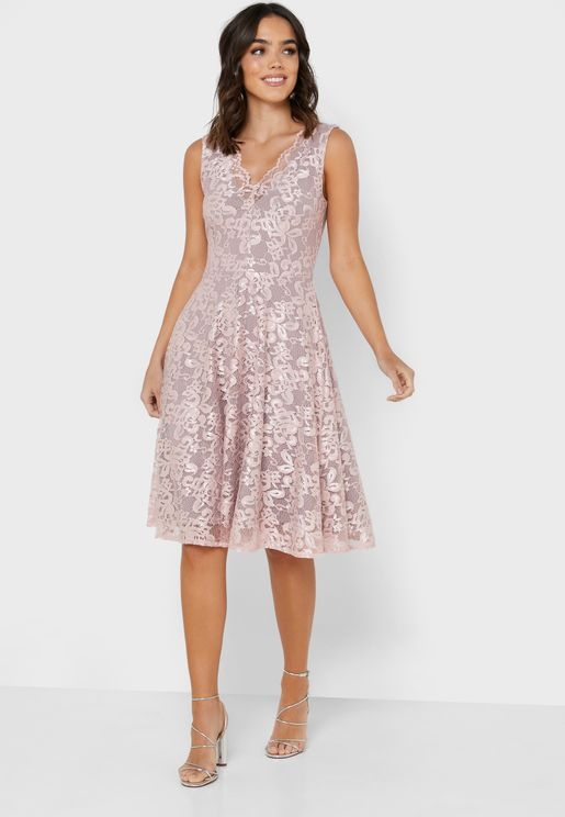 Pleated Detail Lace Dress