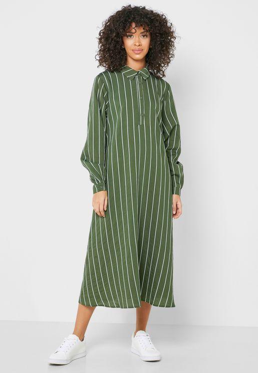Striped Placket Shirt Dress