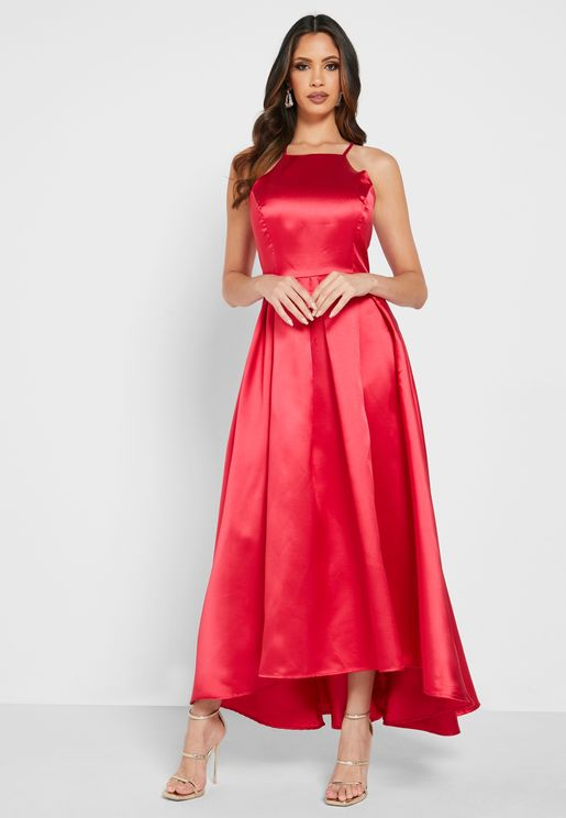Satin Square Neck Dress