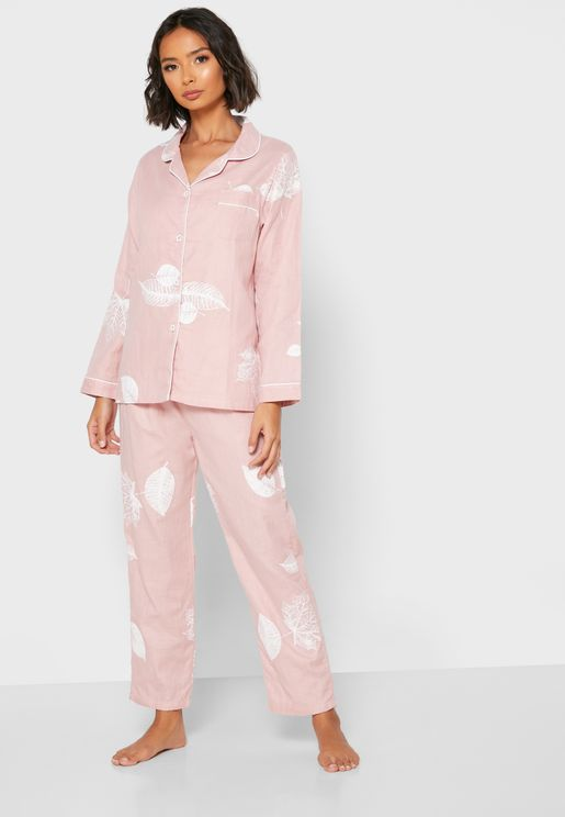 Leaf Print Shirt Pyjama Set