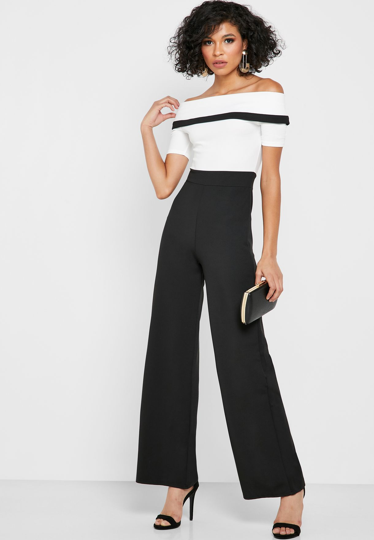 Colorblock Bardot Jumpsuit